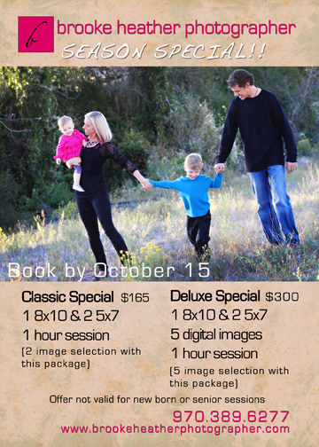 Vail, Colorado Fall Family Portrait Specials